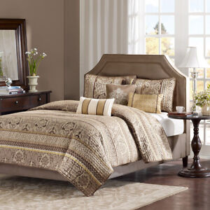 BEAUTIFUL CHIC ELEGANT MODERN RICH BROWN TAUPE BRONZE HOTEL GOLD SOFT QUILT SET