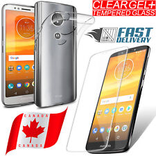 For Motorla Moto E5 / G6 Play Ultra Clear TPU Gel Case Cover + Tempered Glass