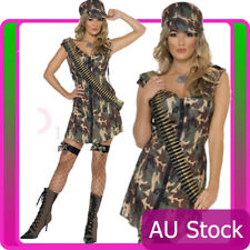 Licensed Womens Fever Army Costume Top Gun Girl Military Soldier Fancy Dress