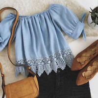 Lady Sexy Off Shoulder Chiffon Blouse Casual Summer Beach Lace Crop Top T-Shirt