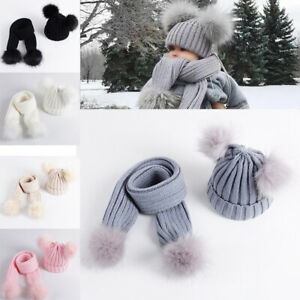 Knit Beanie Cap Scarf Set Toddler Kids Baby Boys Girl Warm Winter Pom Bobble Hat