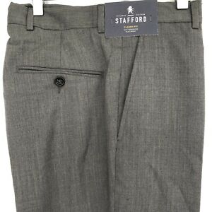 Stafford Mens Trousers Size 30x30L Grey Tailored Classic Fit Formal Wool NEW