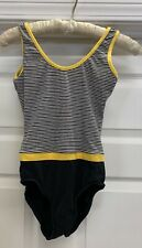 Vtg Flextard By Gilda Marks Leotard Body Suit Sz S Blk & White W/ Yellow Trim