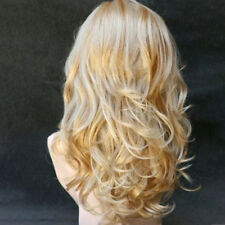 Lady 62cm Length Long Wavy Golden Blonde Mix Wig Skin Tops Wavy Hair WH3