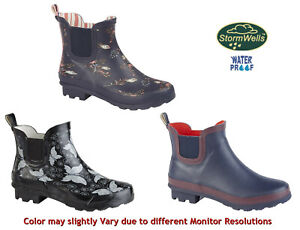 StormWells Womens Ladies Short Ankle Wellies Gusset Ankle Wellington Rain Boots