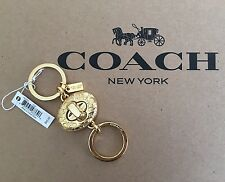 NWT Coach Signature C Turnlock Gold Bag Valet Key Ring Charm Keychain F65501