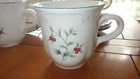 Pfaltzgraff Winterberry Cup and saucer set White and Red Holly Design
