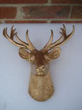 Gold Mini Deer White Faux Head Wall Mount Bust Fake Animal Resin