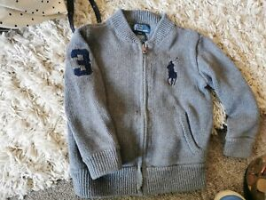 Age 3 Childs Authentic Ralph Lauren Polo Grey Zip Up Warm Cardigan