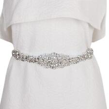 Bridal Wedding Dress Belt Sash Diamante Bling Sparkle Crystal White Ribbon