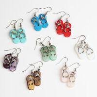 Natural Gemstones Amethyst Abalone Shell Slippers Pendant Silver Hook Earrings
