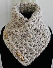 Cute Women's Handmade Acrylic Beige Crochet Chunky Neck Warmer Cowl Scarflette