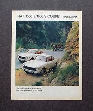 H697 - Advertising Pubblicità -1964- FIAT 1500 E 1600 S COUPE' , PININFARINA