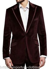 DUCHAMP Burgundy Herringbone Velvet Sports Jacket Coat Blazer UK40 IT50 BNWT