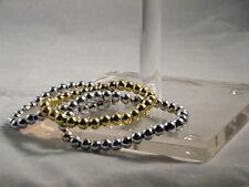 Beaded Bracelet Jewelry Gold Silver Pearl Acrylic 4mm Round Beads Stretch Set 3