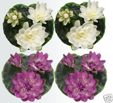 "Four 9"" Floating Water Lily Silk Flower Lotus Plant Cfu"