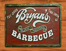 "TIN-UPS TIN Sign ""Bryan's Barbecue"" Vintage Shop Ad Garage Store"