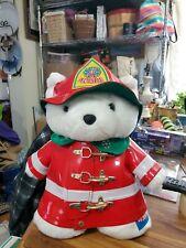 "1996 Santabear 18"" White Bear Fireman original Collectible item Christmas"