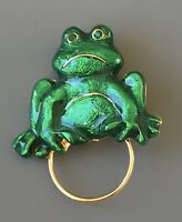 Vintage frog  Brooch & eyeglass holder In enamel  on Gold Tone Metal