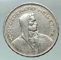 1937 Switzerland Founding HERO WILLIAM TELL 5 Francs Silver Swiss Coin i84855