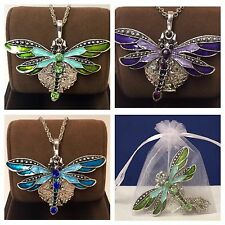 Dragonfly Green Necklace Essential Oil Diffuser Aromatherapy silver Locket Green