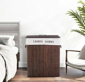 Folding Double Rectangle Bamboo Hamper Laundry Basket