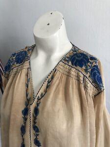 Vintage 1930s Hongrois Brodé Paysan Chemisier Bleu Floral Pur Coton Vintage