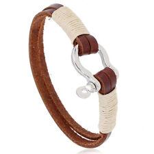 Mens Handmade Brown Leather Bracelet Bangle Wristband Surfer Wrap Cuff Jewelry