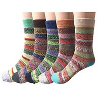 5 Pairs Womens Wool Cashmere Thick Sock Lady Soft Casual Winter Thermal Socks US