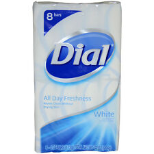 White Antibacterial Deodorant Soap by Dial for Unisex - 8 x 4 oz Soap