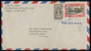 Mayfairstamps COSTA RICA COMMERCIAL 1946 COVER QUEPOS TO MARLBORO MA USA wwm2868