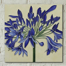 "Agapanthus Decorative Ceramic Tile by Jaci Hogan 8x8"" Wall Plaque 05590"