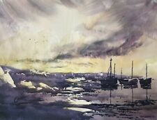 Boats 15x11in Watercolour Painting by Steven Cronin Original Signed Art