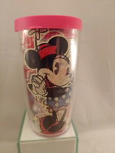 Tervis  16 oz. Pink Red Minnie Mouse Tumbler  Clear Hot pink Top