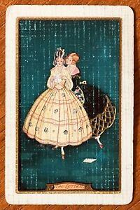 "Vintage Linen Swap / Playing Card "" The Letter "" Elegant Ladies"