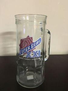 K4) Super Bowl XXI 1987 New York Giants vs Denver Broncos Beer Mug Glass