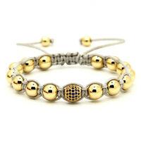 Mens Shambhala 18kt Gold Plated Beads 8mm Micro Paved Cz Beads Macrame Bracelet
