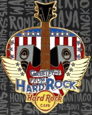 """Hard Rock Cafe ONLINE 2018 """"GREETINGS FROM"""" Core Series PIN Guitar Pick w/ Icons"""