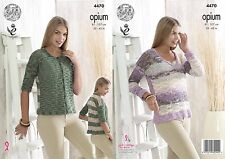 "King Cole Opium Knitting Pattern 4470:Sweater & Cardigan 32""-42"""