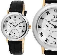 Automatik Herren Armbanduhr Silber/Gold/Schwarz Lederarmband ENGELHARDT 239 UVP