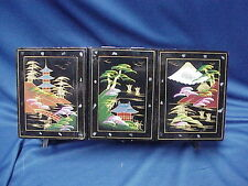 """Black Lacquer Music Jewelry Box Red Velvet Mother Pearl JAPAN 14"""" x 7"""" x 5 1/2"""""""