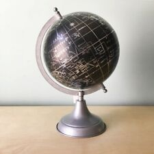 "World Globe Black and Silver Metal stand 12"" New Decorative"