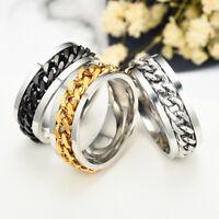 Edelstahl Titan Ring 8mm Kette Männer  Mode Schmuck Edel Schwarz Silber Geschenk