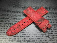 24mm PANERAI PAM 90 PYTHON Skin Leather Strap Red Band Deployment Buckle X1