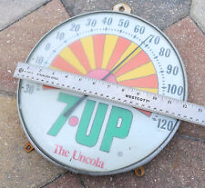 NICE VINTAGE 1970'S 7-UP THE UNCOLA SUN RAY SODA THERMOMETER GLASS FRONT