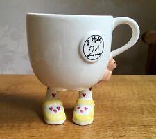 CARLTON WARE Walking Mug teddy Bear Lustre Pottery I Am 21 Heart Sock IMMACULATE