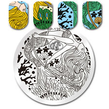 Round Nail Art Stamp Plate Mermaid Feather Fish Star Manicure Plate BORN PRETTY