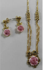 Charm Necklace & Earrings Set. Vintage Avon Victorian Style,Gold Tone,Pink Rose