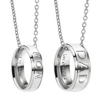 """""""Mom"""" or """"Dad"""" Stainless Steel """"Love You"""" Engraved Ring Necklace Birthday Gift"""