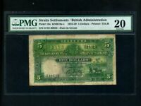 Straits Settlements:P-10a,5 Dollars, 1925 * RARE * PMG VF 20 *